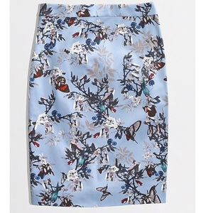 J.Crew Stretch Pencil Skirt in Botanical BirdPrint